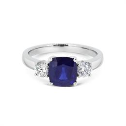 Sapphire Cushion Cut & Diamond Three Stone Ring 2.45ct