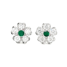 Emerald & Diamond Floral Cluster Earrings 0.25ct