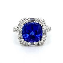 Tanzanite & Diamond Vintage Cluster Dress Ring 5.67ct