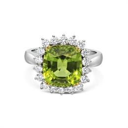 Cushion Cut Peridot & Brilliant Cut Diamond Dress Ring 5.69ct