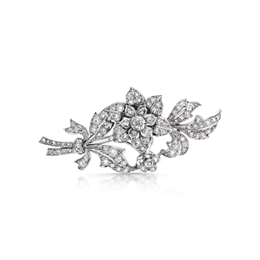 Floral Diamond Tremblant Spray Brooch 4.50ct