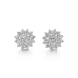 Brilliant Cut Diamond Tiered Cluster Stud Earrings 0.90ct