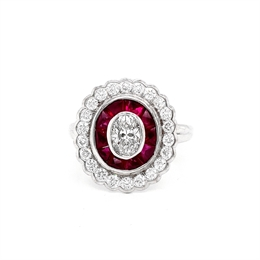 Oval Diamond And Ruby Target Cluster Ring 0.53ct