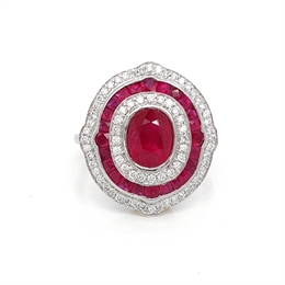 Vintage Style Ruby & Diamond Target Cluster Ring 2.00ct