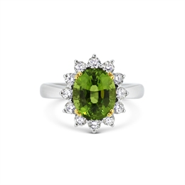 Peridot & Brilliant Cut Diamond Oval Cluster Ring 4.07ct