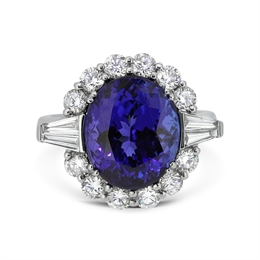 Oval Tanzanite & Diamond Cluster With Tapered Baguette Should 8.25ct