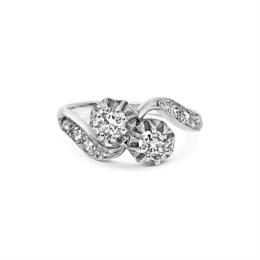2 Stone Diamond Cross Over Ring 0.40ct
