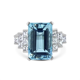 Aquamarine & Princess Cut Diamond Dress Ring 10.20ct