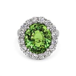 Green Aquamarine & Diamond Cluster Dress Ring 11.34ct