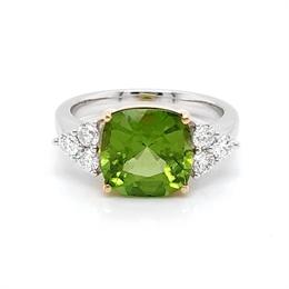 Peridot Cushion Cut Dress Ring With Diamond Trefoil Shoulders 3.86ct