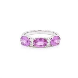 Pink Sapphire & Diamond Claw Set Half Eternity Ring 2.40ct