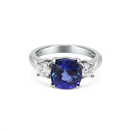 Sapphire & Diamond Three Stone Ring 4ct
