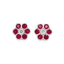 Ruby & Diamond Rub-Over Set Cluster Earrings 2.15ct
