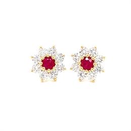 Ruby & Diamond Daisy Cluster Earrings 0.65ct
