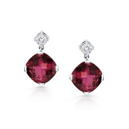 Pink Tourmaline & Diamond Drop Earrings 4.47ct