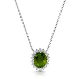 Peridot & Brilliant Cut Diamond Cluster Pendant 8.16ct