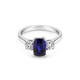 Sapphire & Diamond Three Stone Ring 2.04ct