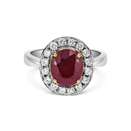 Grain Set Ruby & Diamond Cluster Ring 2.97ct