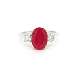 Oval Ruby & Diamond Trilogy Ring 3.64ct