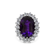 Amethyst Oval & Diamond Cluster Ring 16ct Approx