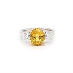 Yellow Sapphire & Diamond Three Stone Ring 4.25ct