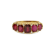 Victorian Ruby Carved Half Hoop 2.50ct Approx