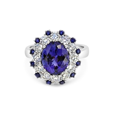 Oval Tanzanite & Diamond Dress Ring With Sapphire Accents 3.71ct